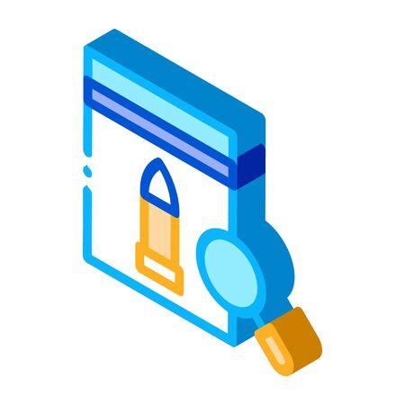 Bullet Evidence Poly Bag Icon Vector. Isometric Bullet Evidence Poly Bag sign. color isolated symbol illustration Çizim