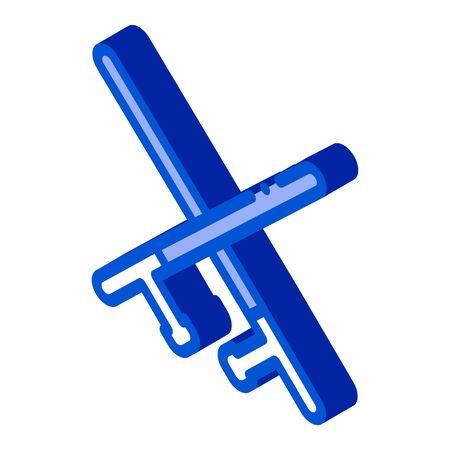 Crossed Police Batons Icon Vector. Isometric Crossed Police Batons sign. color isolated symbol illustration