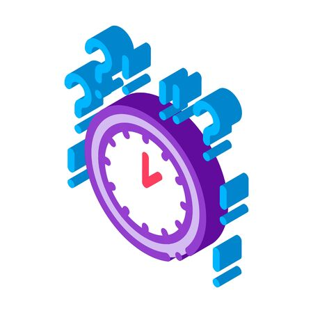 Clock And Question Mark Icon Vector. Isometric Clock And Question Mark sign. color isolated symbol illustration