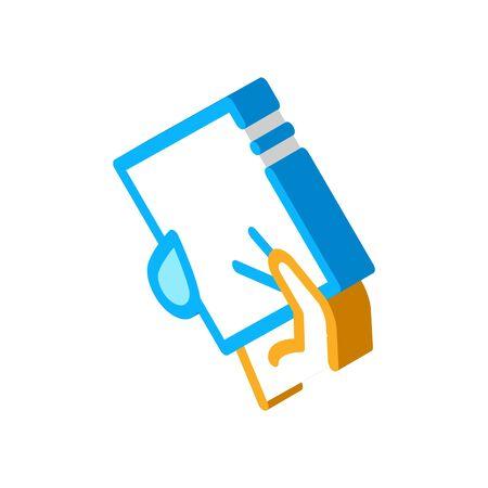 Hand Holding Napkin Icon Vector. Isometric Hand Holding Napkin sign. color isolated symbol illustration Ilustração