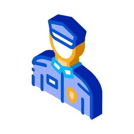 Policeman In Police Suit Icon Vector. Isometric Policeman In Police Suit sign. color isolated symbol illustration