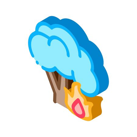 Fire Burning Tree Icon Vector. Isometric Fire Burning Tree sign. color isolated symbol illustration