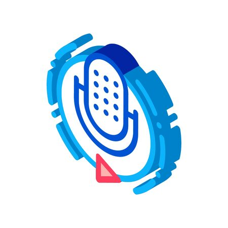 Broadcasting Microphone Icon Vector. Isometric Broadcasting Microphone sign. color isolated symbol illustration