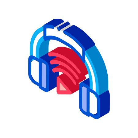 Headphones Host Device Icon Vector. Isometric Headphones Host Device sign. color isolated symbol illustration 矢量图像