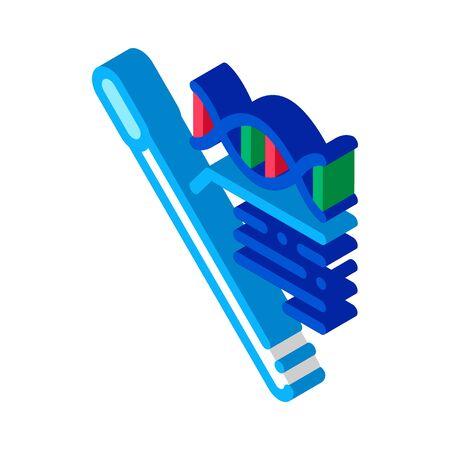 Cotton Swab Dna Molecule Icon Vector. Isometric Cotton Swab Dna Molecule sign. color isolated symbol illustration Иллюстрация