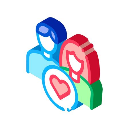 Man And Girl And Heart Icon Vector. Isometric Man And Girl And Heart sign. color isolated symbol illustration Ilustracja