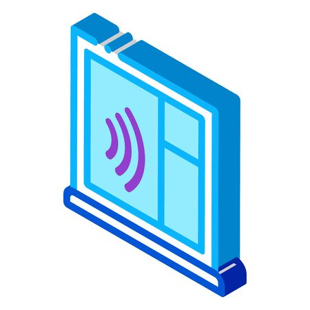 soundproof window icon vector. isometric soundproof window sign. color isolated symbol illustration