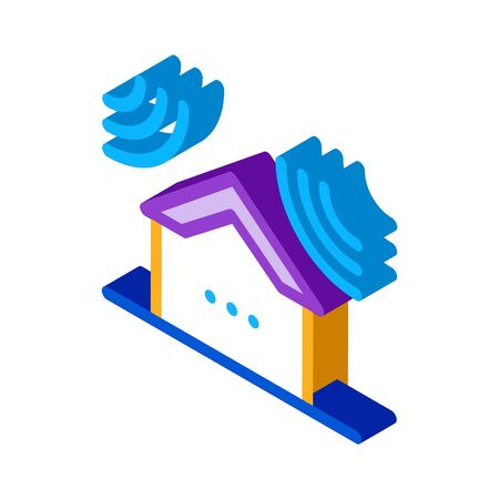 sound acting on residential building icon vector. isometric sound acting on residential building sign. color isolated symbol illustration Stock Illustratie