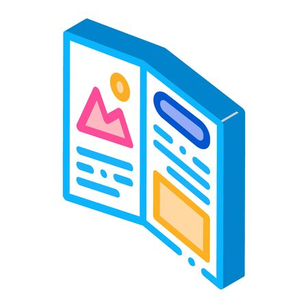 printed booklet icon vector. isometric printed booklet sign. color isolated symbol illustration