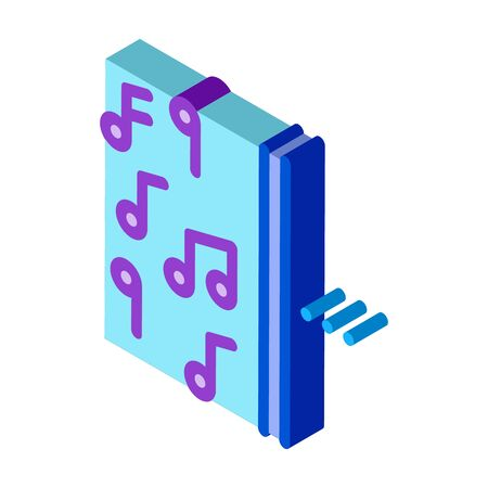 one side of music other half silence icon vector. isometric one side of music other half silence sign. color isolated symbol illustration