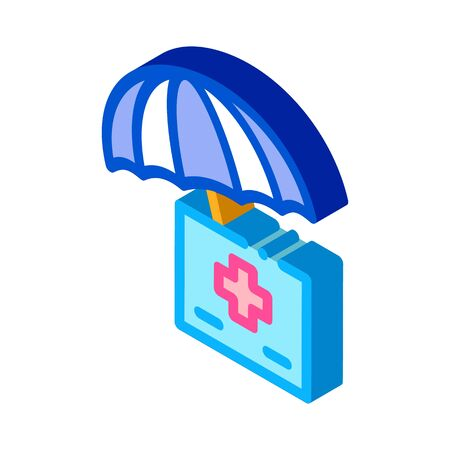 medical care under umbrella icon vector. isometric medical care under umbrella sign. color isolated symbol illustration Illustration