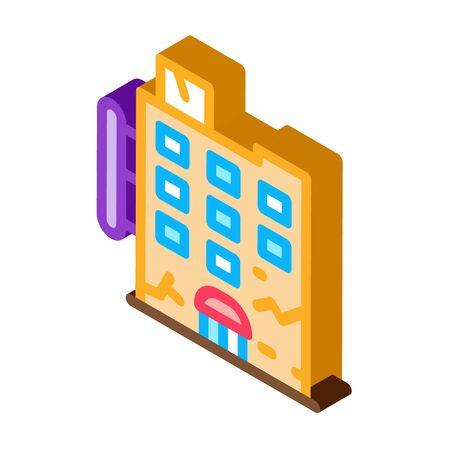 crack on residential building icon vector. isometric crack on residential building sign. color isolated symbol illustration Illustration