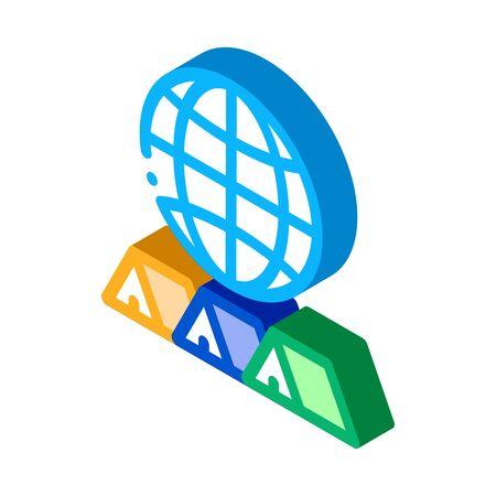 world travel icon vector. isometric world travel sign. color isolated symbol illustration