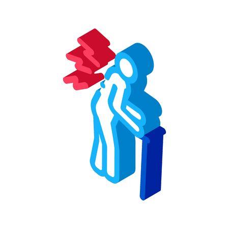 senile arthritis of back icon vector. isometric senile arthritis of back sign. color isolated symbol illustration