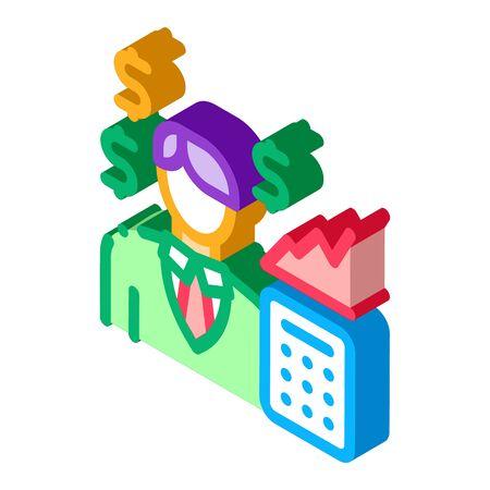 realtor transfers profit icon vector. isometric realtor transfers profit sign. color isolated symbol illustration