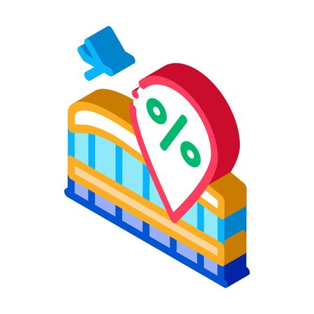 duty free increase in percent icon vector. isometric duty free increase in percent sign. color isolated symbol illustration