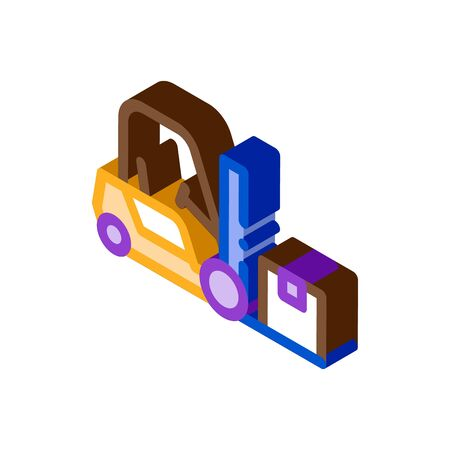 forklift car icon vector. isometric forklift car sign. color isolated symbol illustration