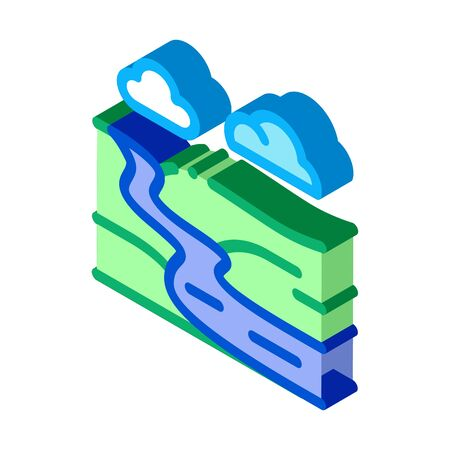 river landscape in countryside icon vector. isometric river landscape in countryside sign. color isolated symbol illustration