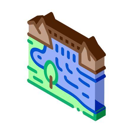 boat in river landscape icon vector. isometric boat in river landscape sign. color isolated symbol illustration 일러스트