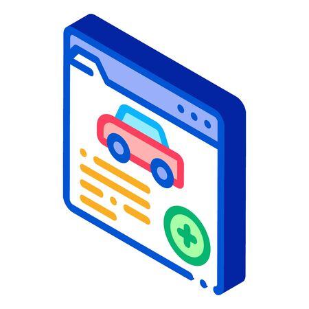 car health insurance icon vector. isometric car health insurance sign. color isolated symbol illustration