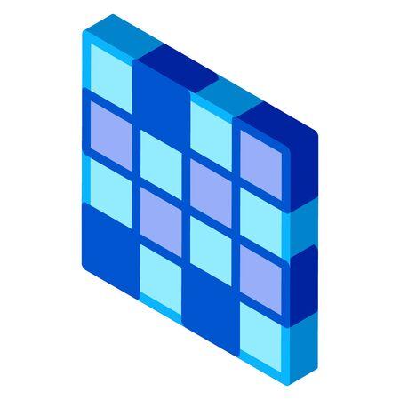 symmetrical tile surface icon vector. isometric symmetrical tile surface sign. color isolated symbol illustration Illustration