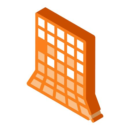 laying square tiles all over wall icon vector. isometric laying square tiles all over wall sign. color isolated symbol illustration