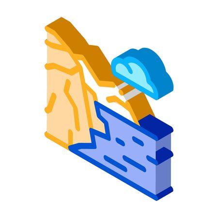 mountain landscape near sea icon vector. isometric mountain landscape near sea sign. color isolated symbol illustration