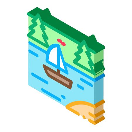current river among gorge icon vector. isometric current river among gorge sign. color isolated symbol illustration 일러스트