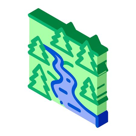 flowing river among forest icon vector. isometric flowing river among forest sign. color isolated symbol illustration