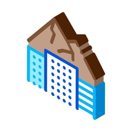 high-rise buildings among mountains icon vector. isometric high-rise buildings among mountains sign. color isolated symbol illustration