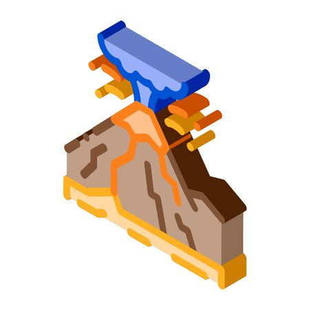 mountain eruption icon vector. isometric mountain eruption sign. color isolated symbol illustration 向量圖像