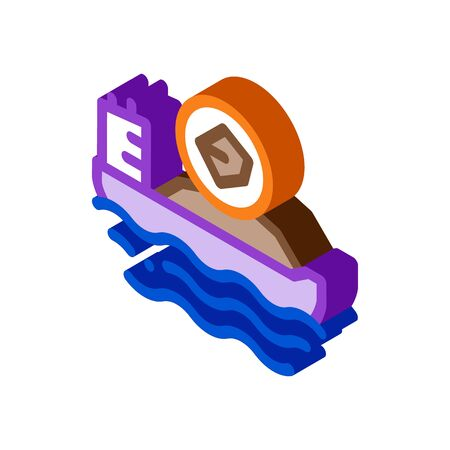 mobile boat with coal icon vector. isometric mobile boat with coal sign. color isolated symbol illustration