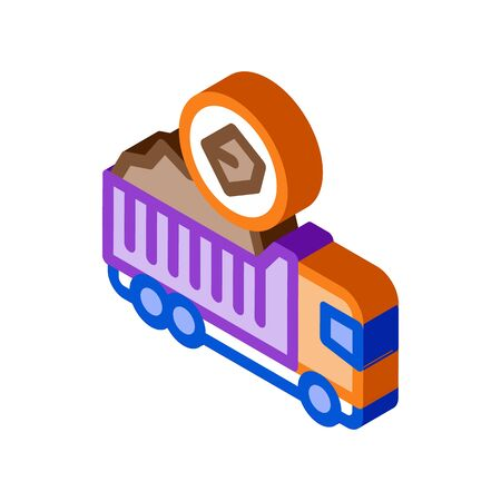 coal truck icon vector. isometric coal truck sign. color isolated symbol illustration Vectores