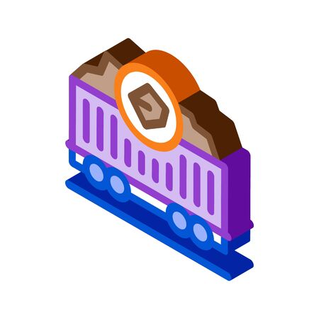 coal trolley icon vector. isometric coal trolley sign. color isolated symbol illustration Vectores