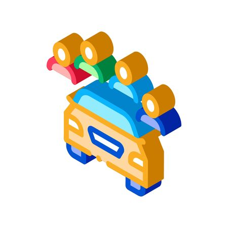 inspection of machine by group of people icon vector. isometric inspection of machine by group of people sign. color isolated symbol illustration