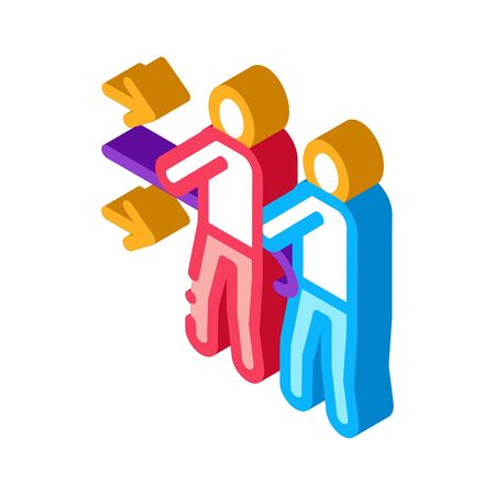 team efforts of people icon vector. isometric team efforts of people sign. color isolated symbol illustration