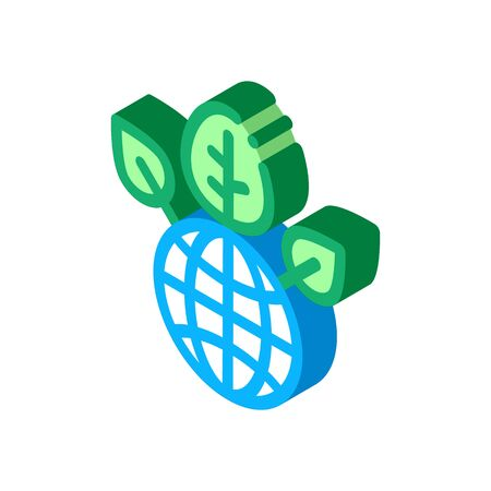 greening of planet icon vector. isometric greening of planet sign. color isolated symbol illustration 向量圖像