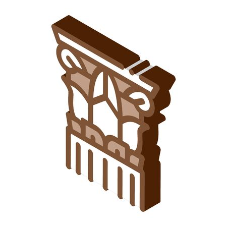threaded greek column icon vector. isometric threaded greek column sign. color isolated symbol illustration