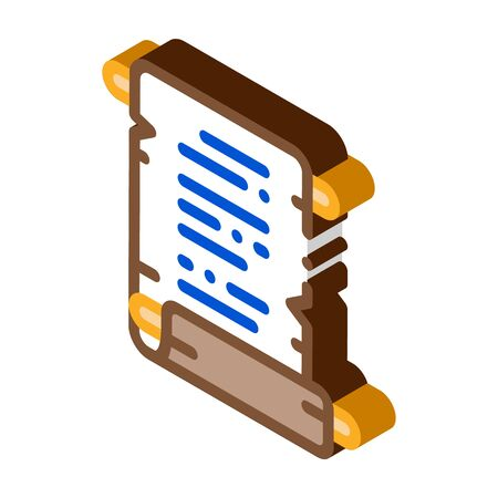 scroll of parchment paper icon vector. isometric scroll of parchment paper sign. color isolated symbol illustration