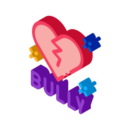 bully broken heart icon vector. isometric bully broken heart sign. color isolated symbol illustration