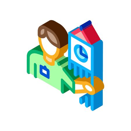 Guide near Big Ben Icon Vector. Isometric Guide near Big Ben Sign. Color Isolated Symbol Illustration  イラスト・ベクター素材