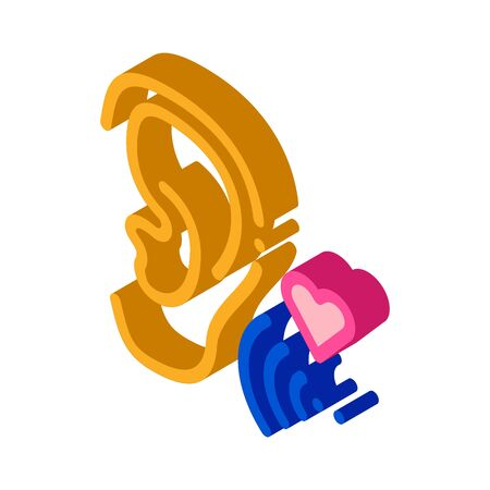 Pleasant Sound for Ear Icon Vector. Isometric Pleasant Sound for Ear Sign. Color Isolated Symbol Illustration 写真素材 - 148756294