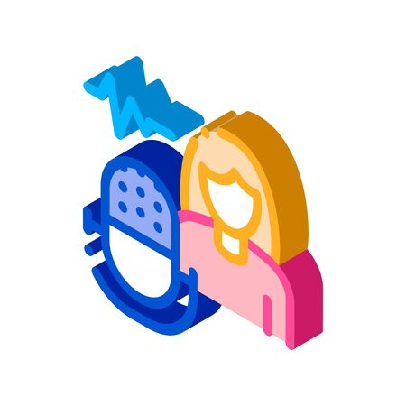 Testing Music Performance on Woman Icon Vector. Isometric Testing Music Performance on Woman Sign. Color Isolated Symbol Illustration 写真素材 - 148756295