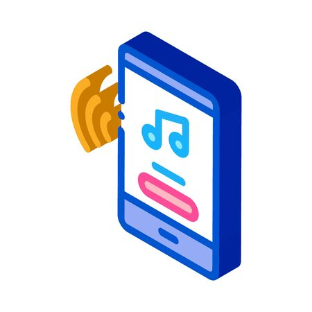 Music Phone App Icon Vector. Isometric Music Phone App Sign. Color Isolated Symbol Illustration 写真素材 - 148756541