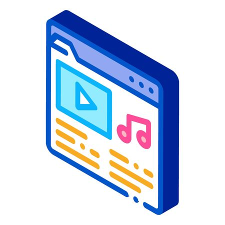 Music Folder with Songs Icon Vector. Isometric Music Folder with Songs Sign. Color Isolated Symbol Illustration