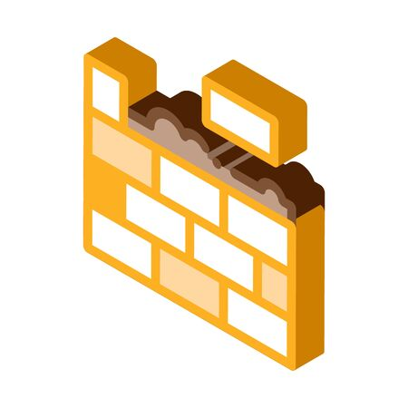 Bricklaying Icon Vector. Isometric Bricklying sign. color isolated symbol illustration Vector Illustration