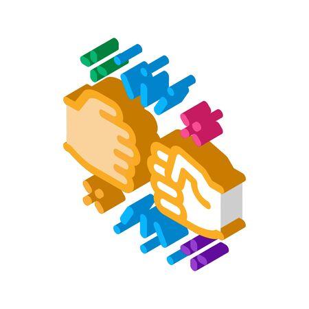 Friend Fist Bump Icon Vector. Isometric Friend Fist Bump sign. color isolated symbol illustration
