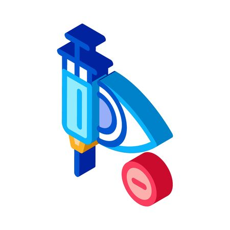 Syringe for Glaucoma Icon Vector. Isometric Syringe for Glaucoma Sign. Color Isolated Symbol Illustration