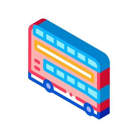 double decker sightseeing bus icon vector. isometric double decker sightseeing bus sign. color isolated symbol illustration