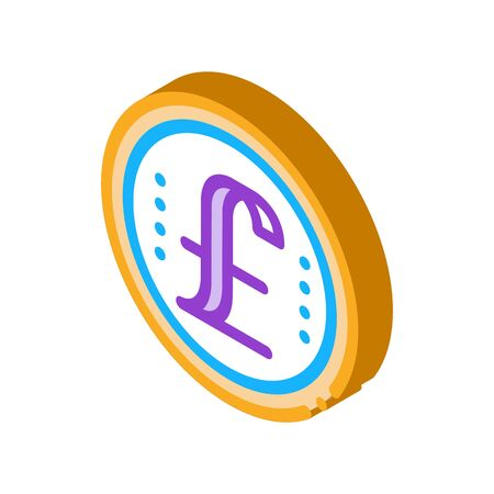 pound coin icon vector. isometric pound coin sign. color isolated symbol illustration